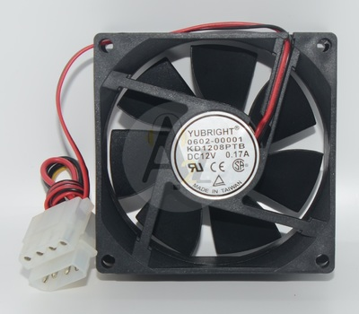 Youbright KD1208PTB 80x80x25mm case fan w/ 4-pin connector, DC12V, 0.17A